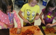 Making strawberry salsa.