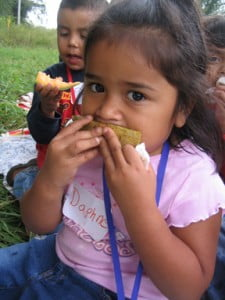 Preschooler enjoying a snack